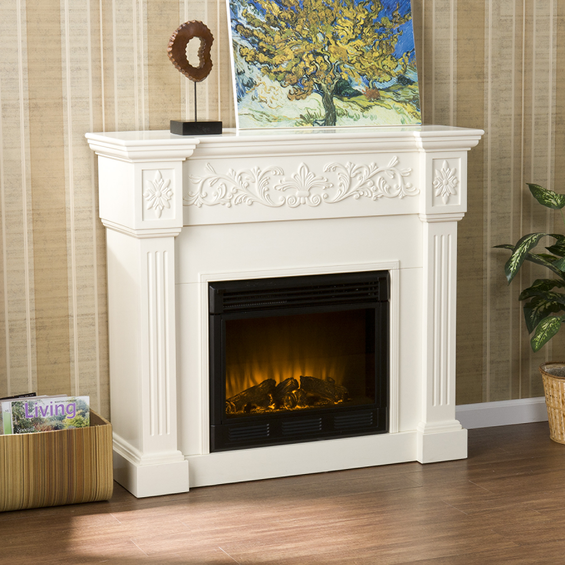 Crisp is the perfect description for Huntington Electric Fireplace-Ivory traditional ivory fireplace. Fluted columns frame the firebox on each side and an elegant floral design across the top of Huntington Electric Fireplace-Ivory classic fireplace draws