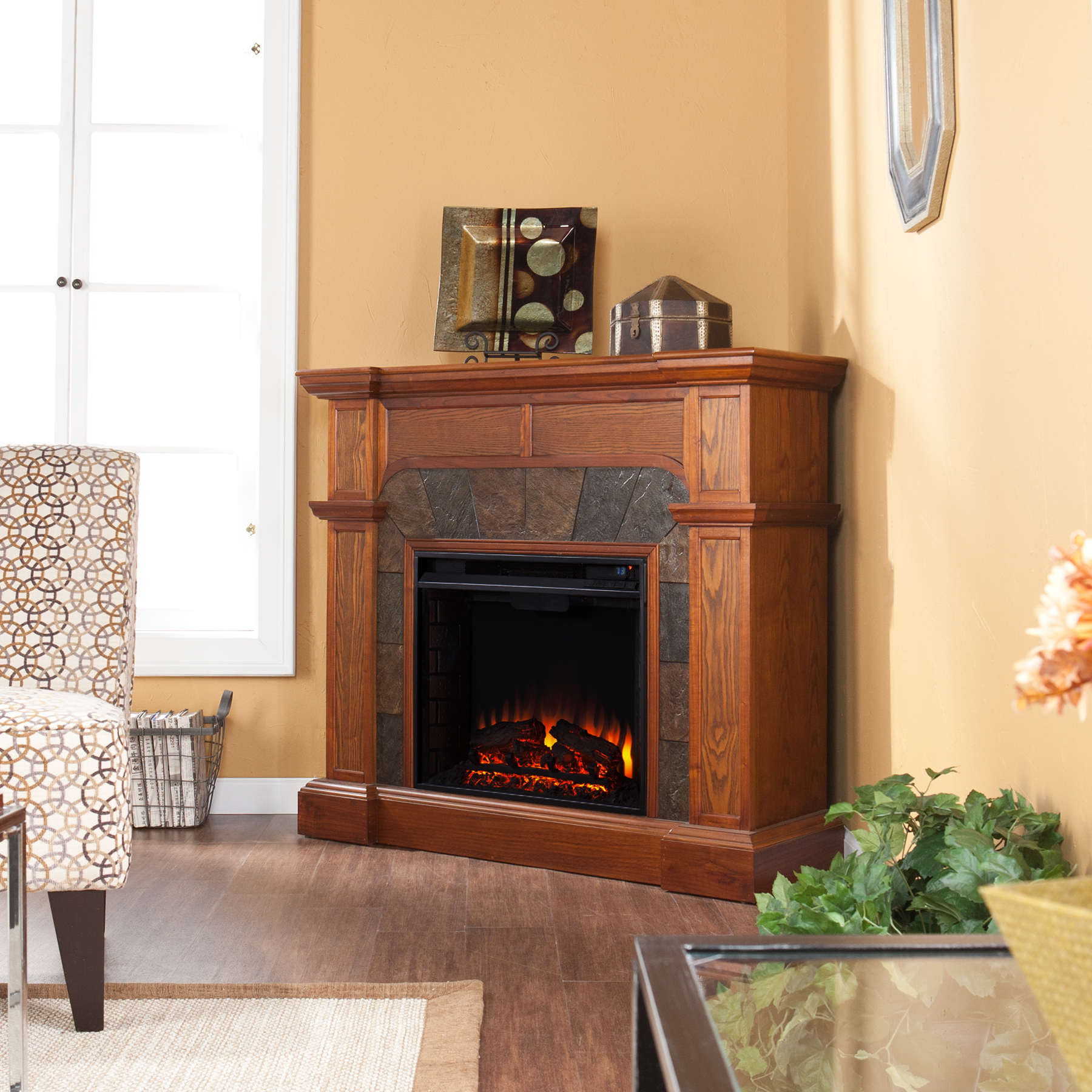 Cartwright Convertible Electric Fireplace Mission Oak