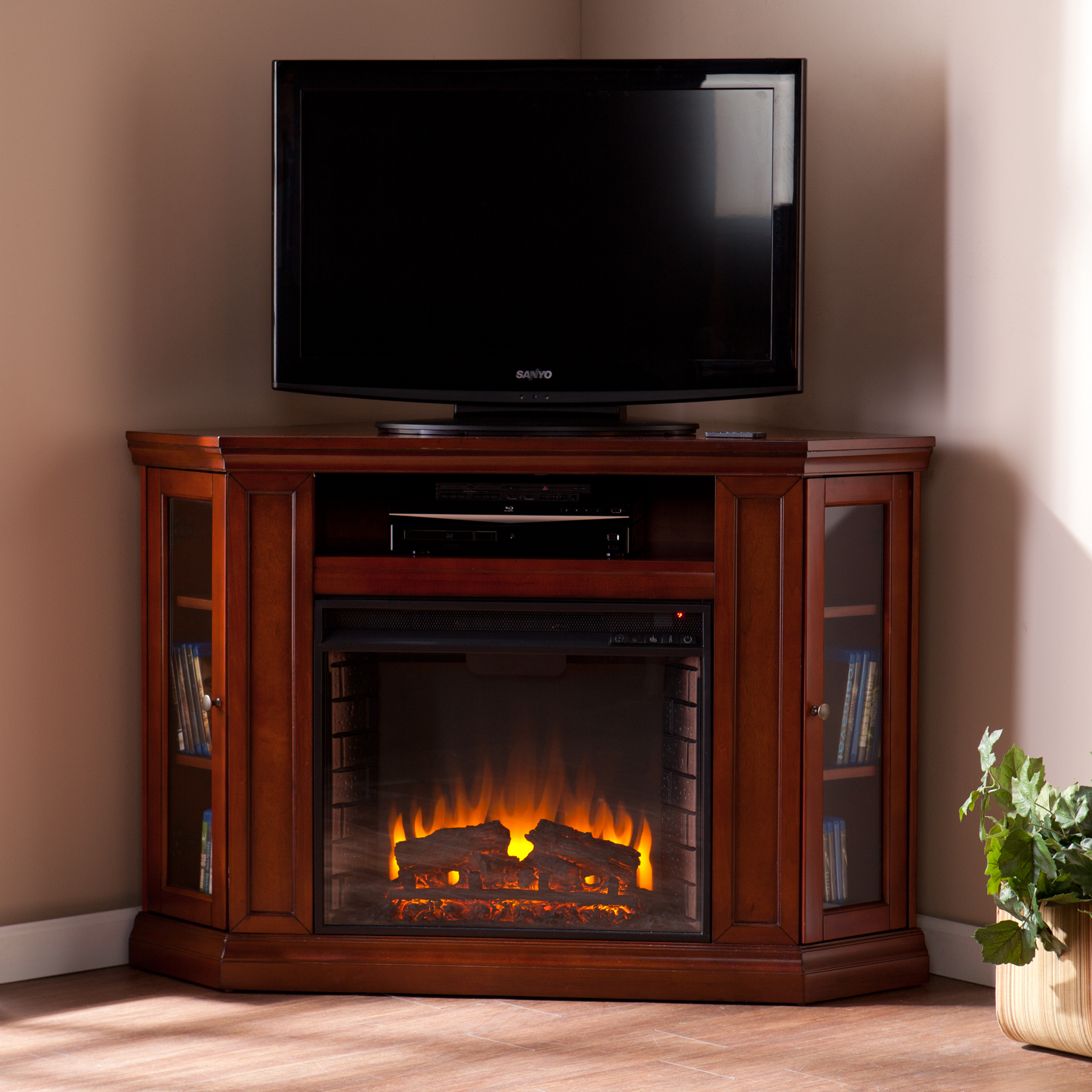 Corner fireplace living room furniture placement