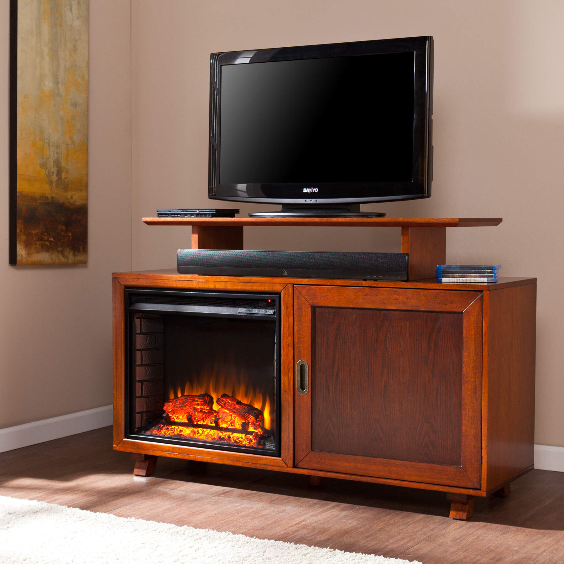 hadley media fireplace walnut espresso
