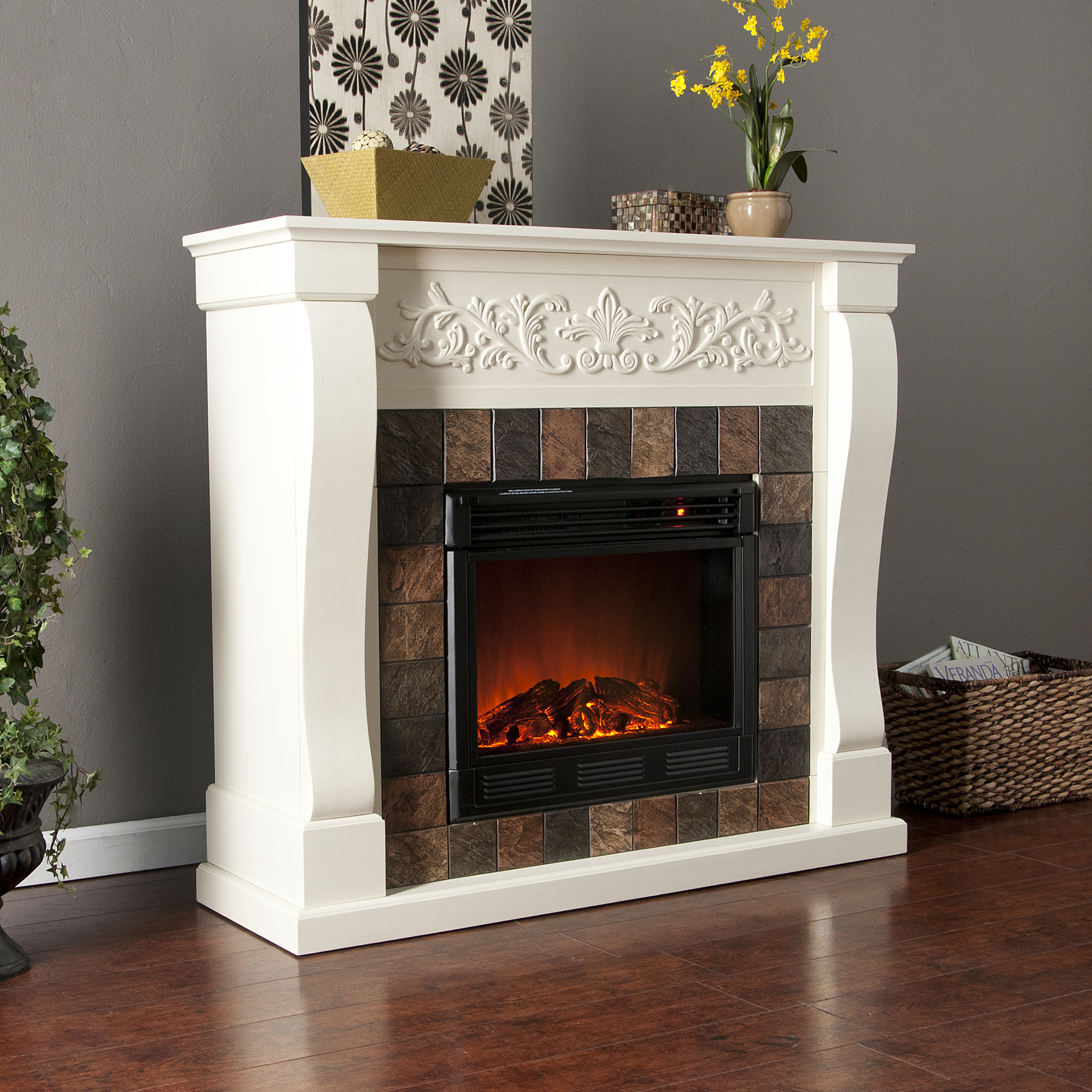 Holly & Martin™ Calgary Electric Fireplace-Ivory - Holly ...