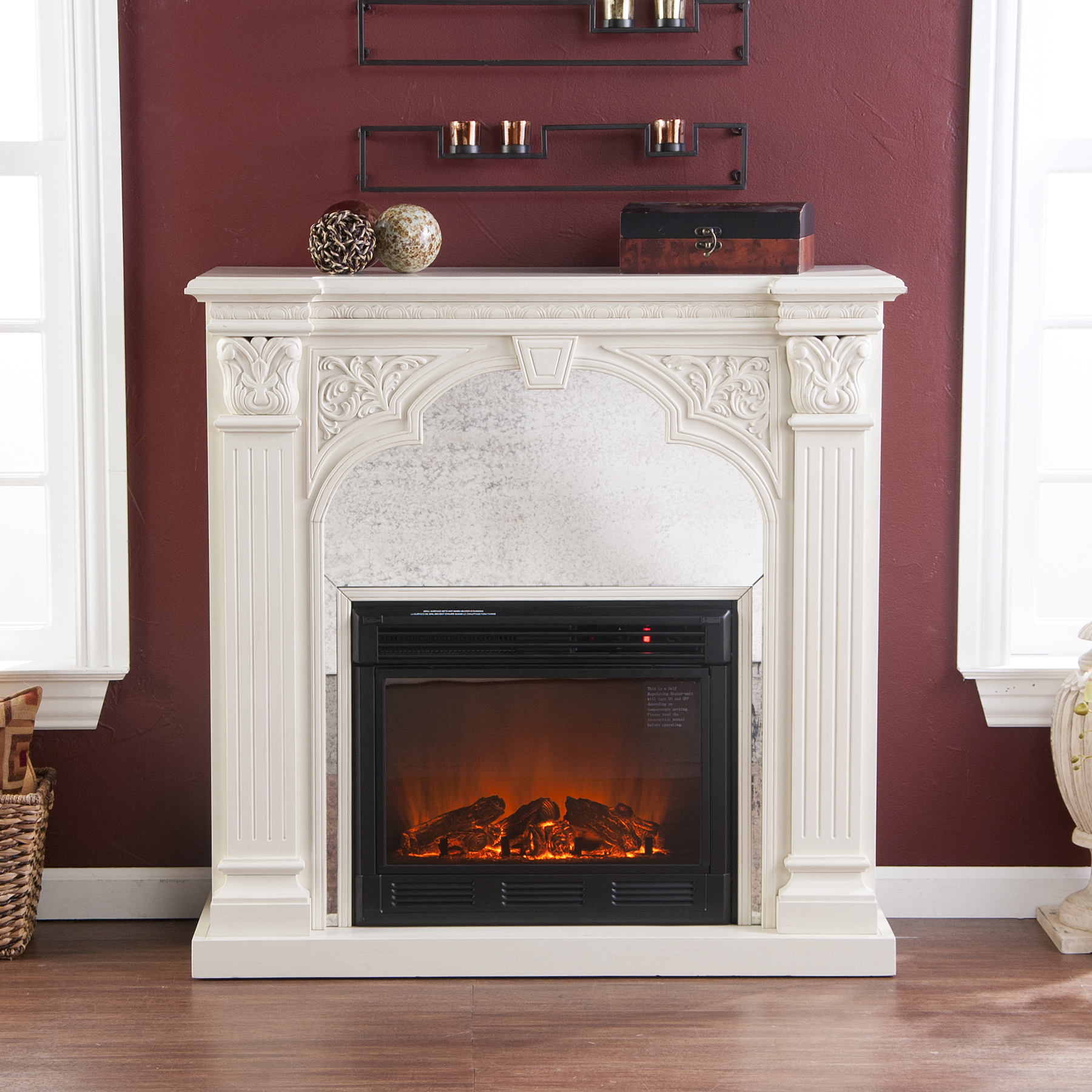 Holly Martin Andorra Electric Fireplace Ivory Holly