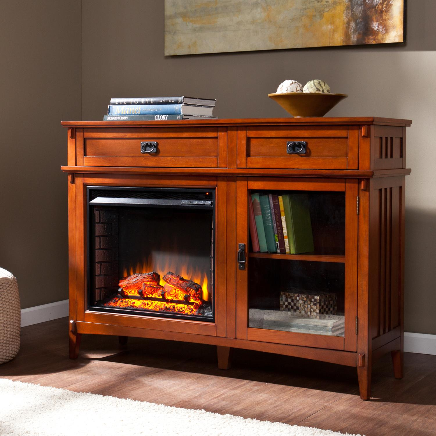 manchester electric fireplace console brown mahogany