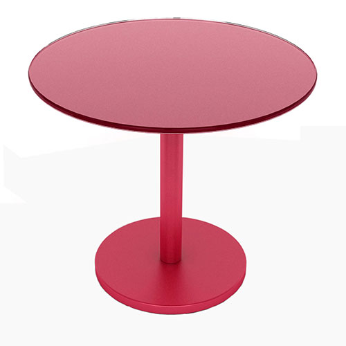 Glass Side Table, Red