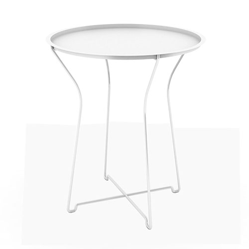 Metal Side Table, White