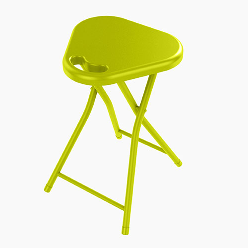 Folding Stool With Handle  In Lime Green - 4 Pack