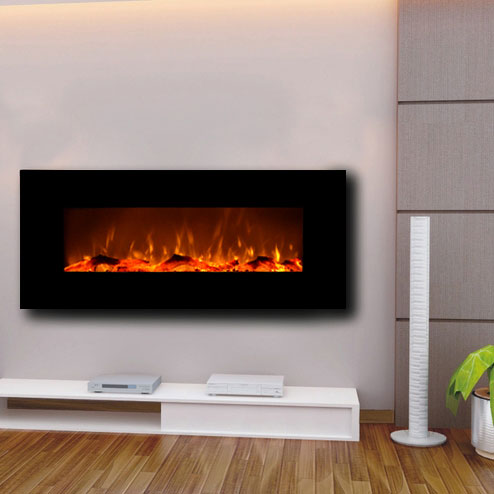 Onyx Black Wall-Mounted Fireplace