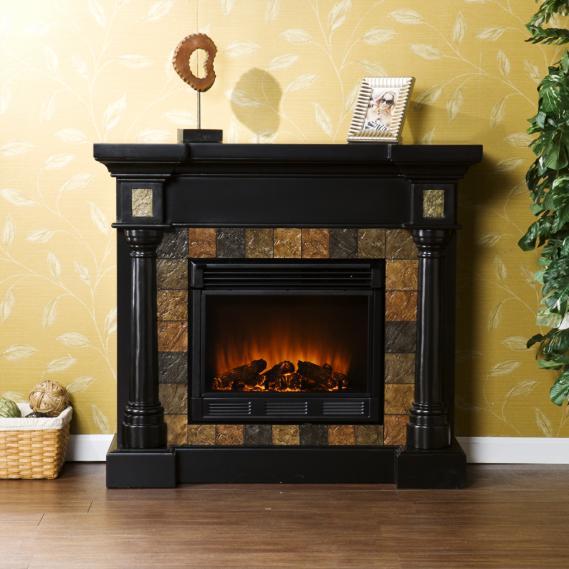 Carrington Faux Slate Convertible Electric Fireplace - Blac