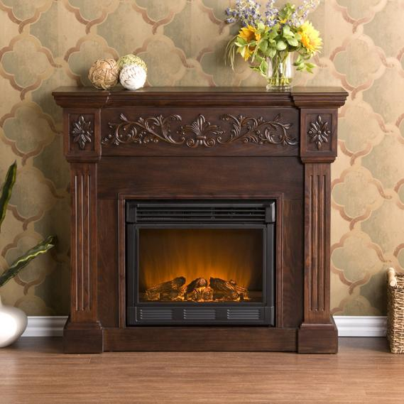 Calvert Carved Electric Fireplace - Espresso