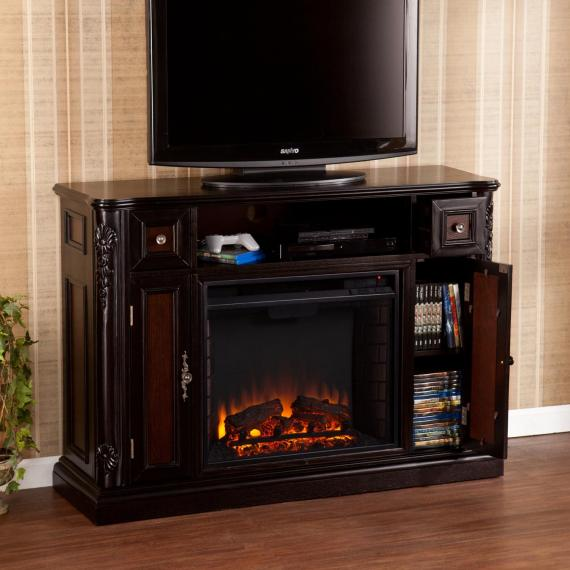 Marianna Media Fireplace - Ebony W/ Reversible Dark Antique