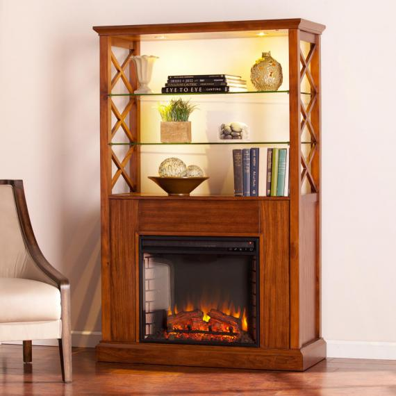 Gentry Electric Fireplace Curio Tower - Oak Saddle
